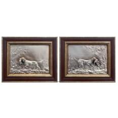 Картины из металла Собака на охоте (2 штуки)