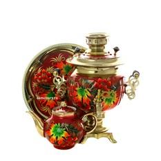 Набор; самовар 3 л. с росписью Клен, поднос и чайник
