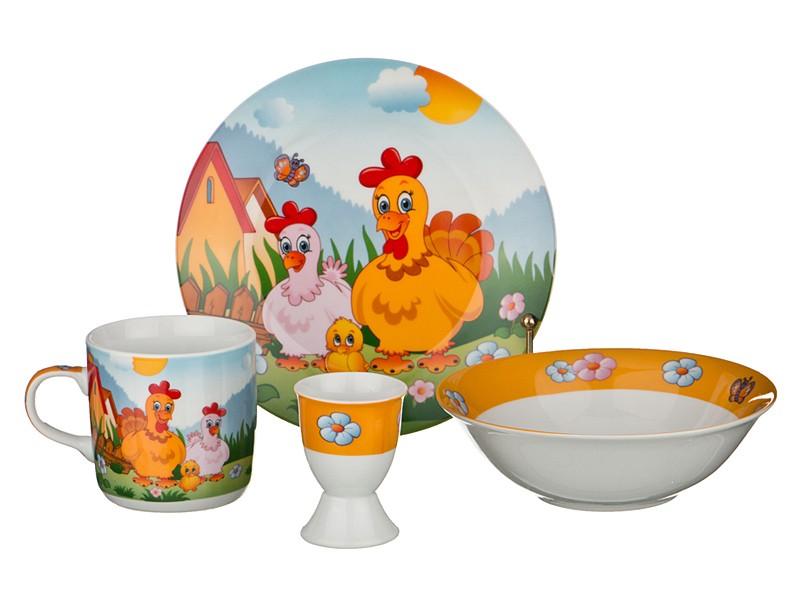 Набор посуды Семья петушков