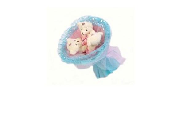 Розово-голубой букет из мягких игрушек Медвежата