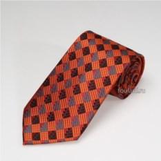 Оранжевый галстук из шелка с ромбами Biagiotti Uomo