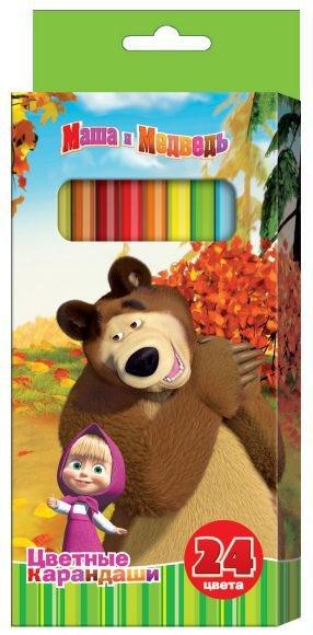 Карандаши цветные Маша и Медведь, 24 цвета