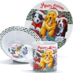 Набор детской посуды 3 предмета Новогодняя собачка
