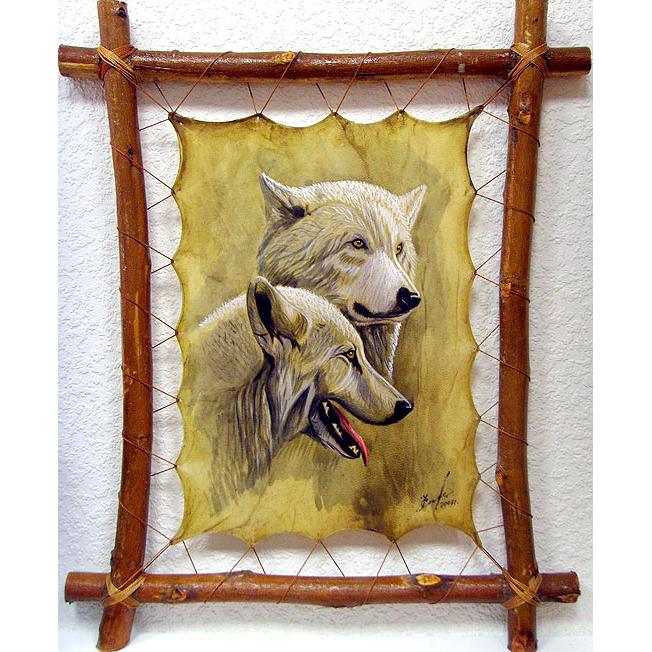 Картина на коже «Белые волки»