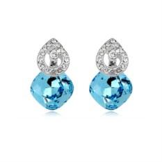 Серьги с голубыми кристаллами Сваровски «Мелодия»
