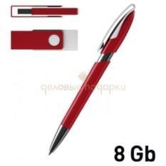 Набор ручка и флеш-карта на 8 Гб красного цвета в футляре