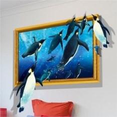 Виниловый 3D стикер Пингвины