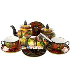Чайный сервиз на 6 персон с росписью Хохлома классическая