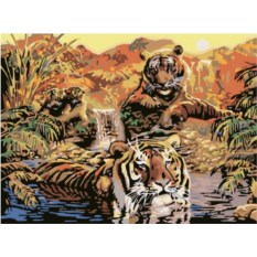 Раскраска по номерам Ravensburger Тигры