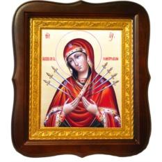 Семистрельная икона Божьей Матери на холсте.