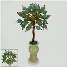 Дерево счастья из зеленого агата в вазочке из оникса
