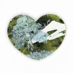 Малый магнит из натурального камня с рисунком Сердце