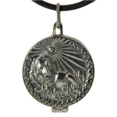 Серебряный открывающийся медальон Лев