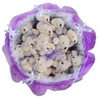 Букет из игрушек Мишки с боа фиолетовые