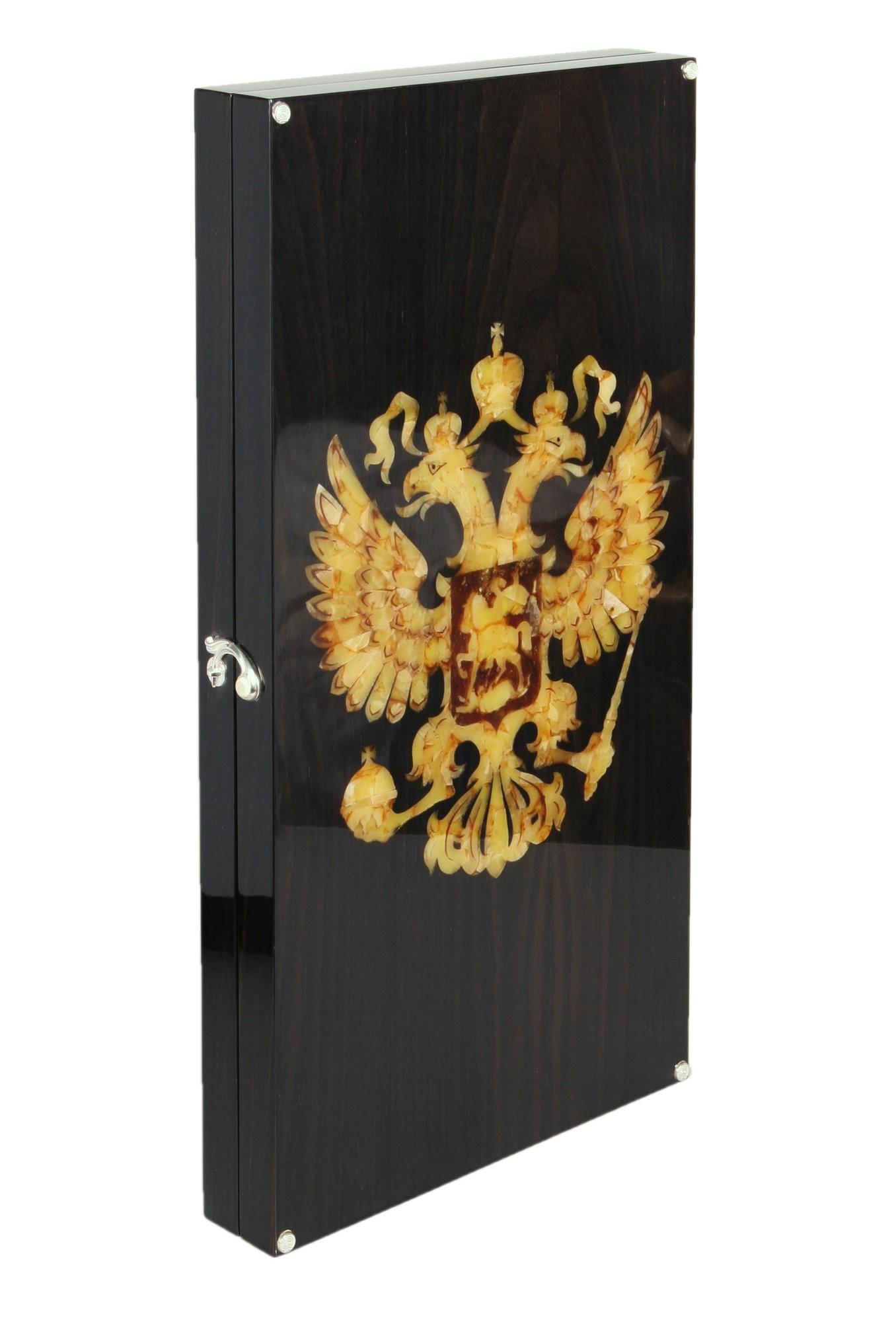 Подарочные нарды янтарные Герб России