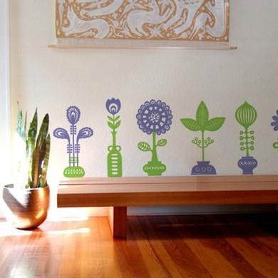 Интерьерная наклейка Семь цветов в семи горшках