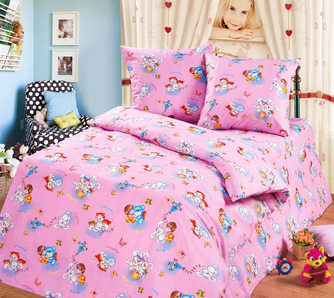 Розовый комплект белья в кроватку из бязи (Cleo)