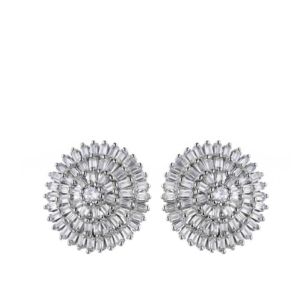 Круглые серебряные серьги с фианитами багетной огранки