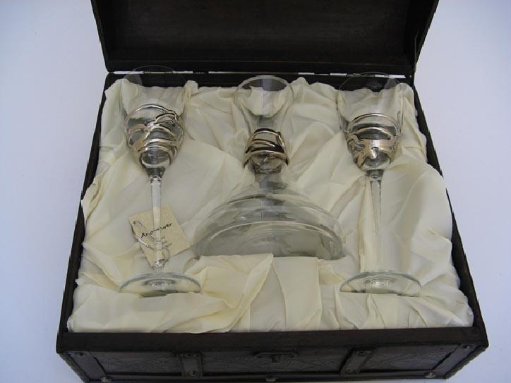 Набор: декантер и 2 бокала для вина, вытянутые серебристые
