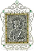 Серебряная настольная икона с образом Николая Чудотворца
