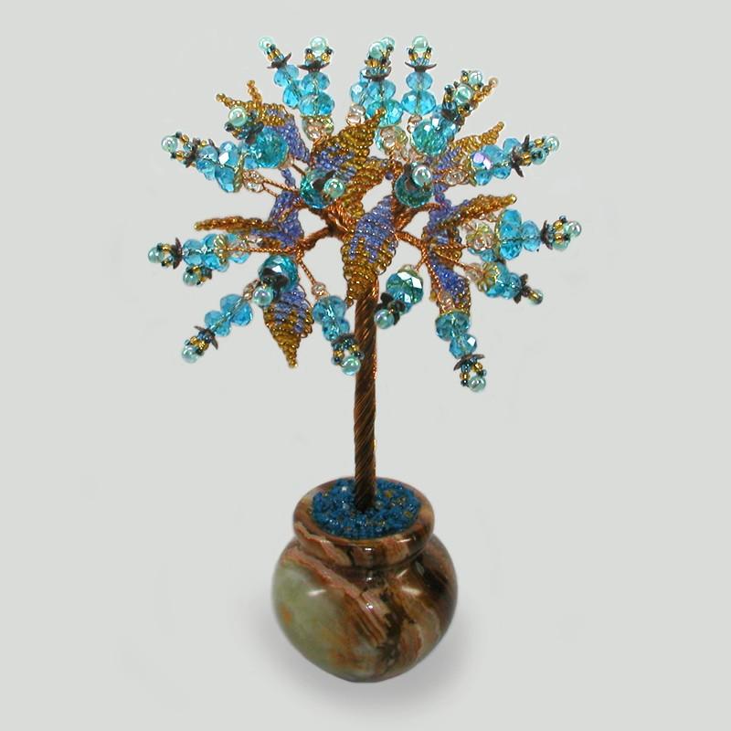 Дерево из топаза Этерия в вазочке из оникса