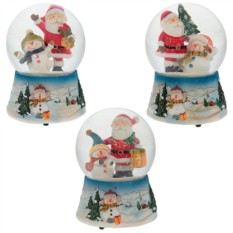 Декоративная фигурка в стеклянном шаре Санта и снеговик