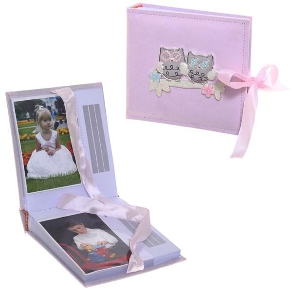 Розовый фотоальбом Совушки, размер 19х17,6х5 см