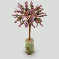 Дерево счастья из дымчатого кварца в вазочке из оникса
