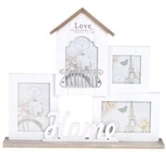 Бело-кремовая рамка для 4-х фото Любимый дом