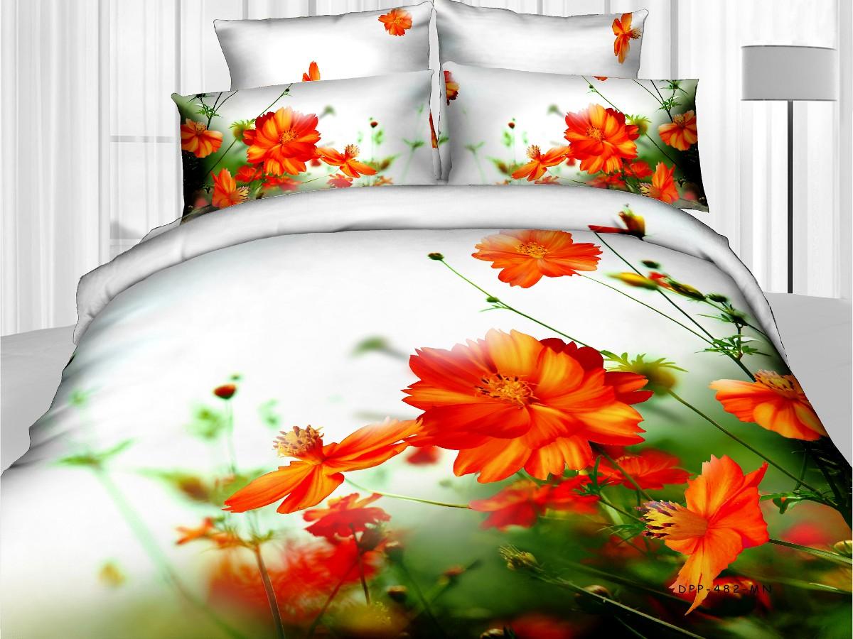 Евро комплект постельного белья 3D, белый с оранжевыми цветами