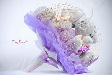 Букет из мягких игрушек (фиолетовый, три серых мишки)