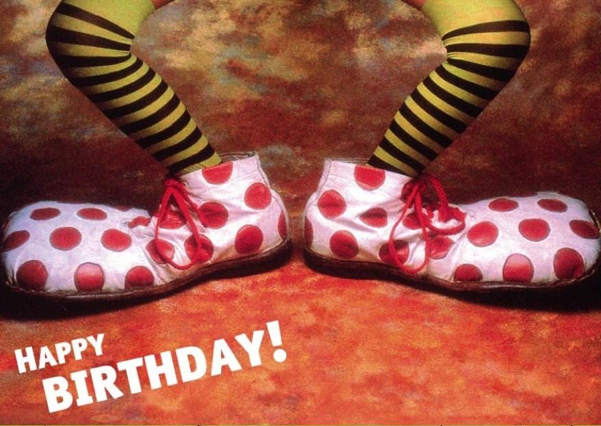 Открытка с днем рождения с клоуном 798