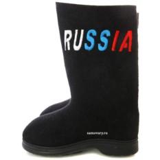 Валенки крашеные с вышивкой Russia, на подошве