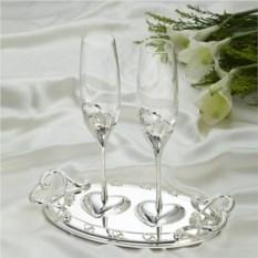 Свадебные бокалы на подносе, серебро