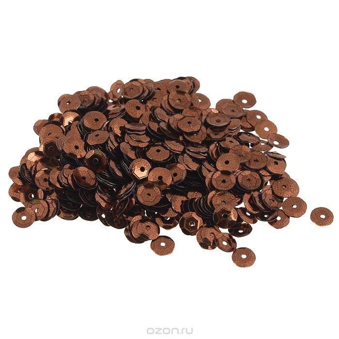Граненые пайетки Астра, коричневые, 6 мм