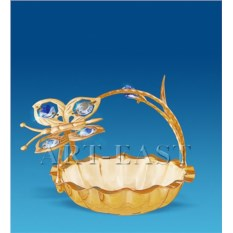 Позолоченная конфетница с кристаллами Swarovski Бабочка