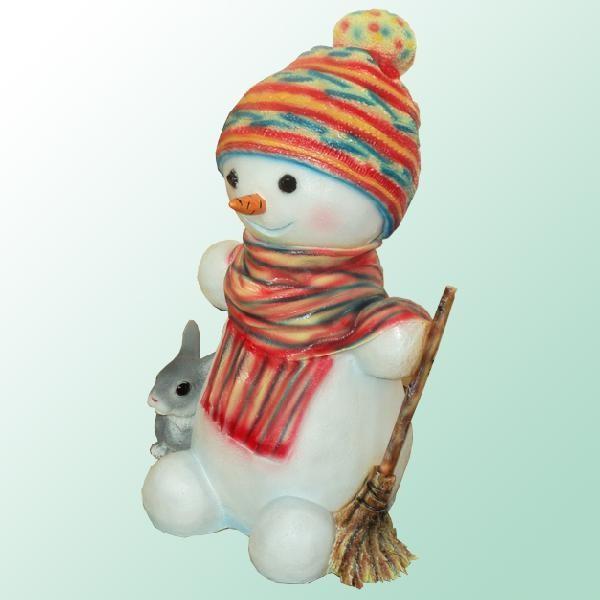Садовая фигурка Снеговик с зайчиком