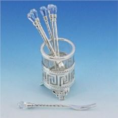 Посеребренный набор вилок Версаче с кристаллами
