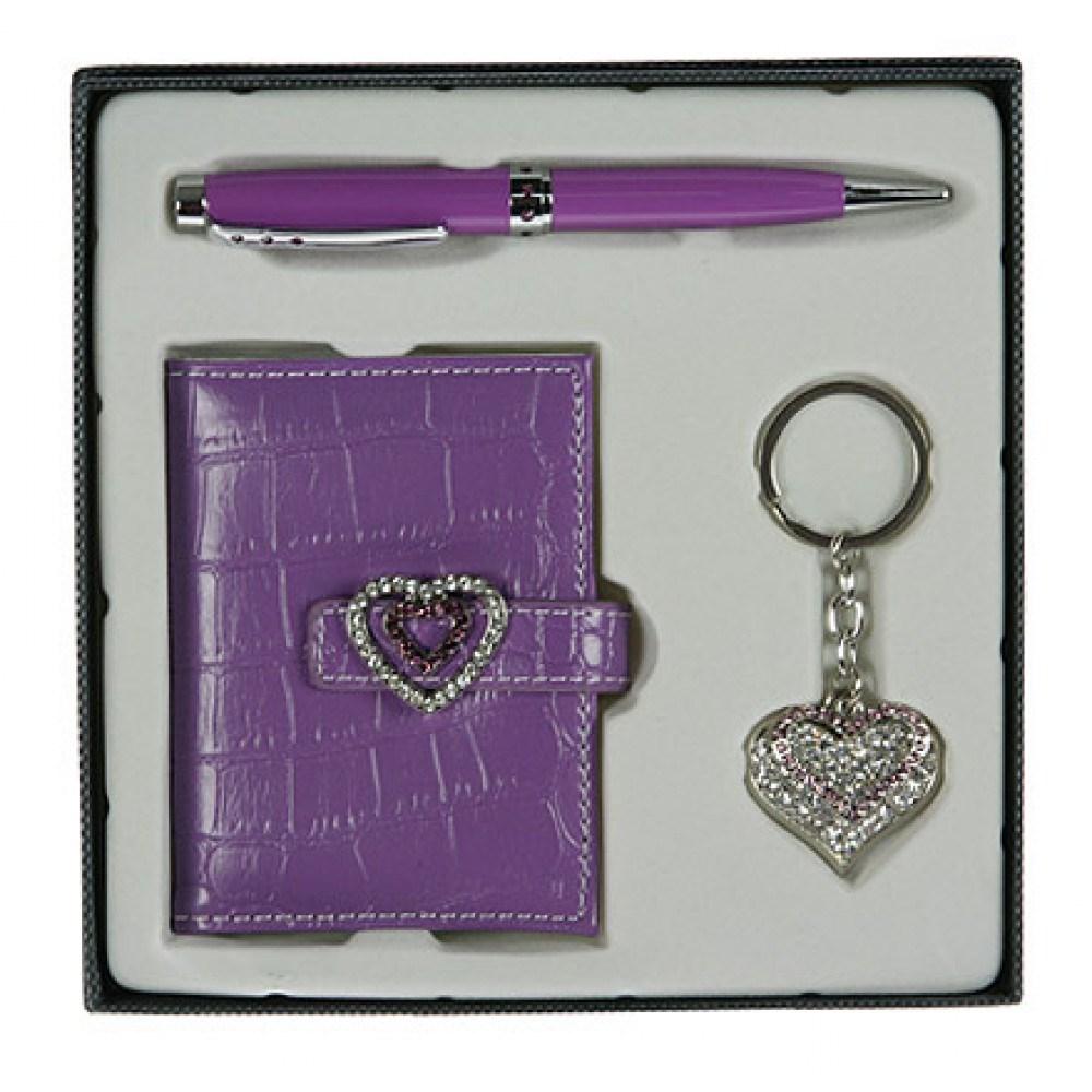 Фиолетовый подарочный набор: ручка, визитница, брелок