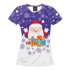 Женская футболка Дед Мороз сподарками