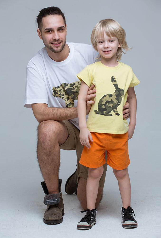 Комплект желтых футболок Military для папы и сына