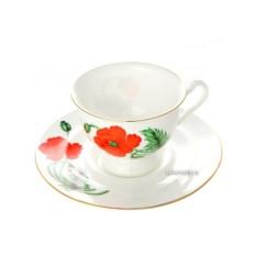 Фарфоровая чайная чашка с блюдцем Кардинал