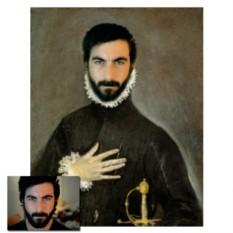 Портрет на холсте в образе рыцаря