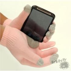 Розовые touch-перчатки Love is