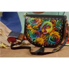 Женская кожаная сумка-седло Разноцветные розы