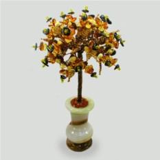 Дерево пожеланий из янтаря в вазочке из оникса
