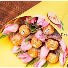 Букет конфет и цветов Тюльпаны (цвет: желтый)