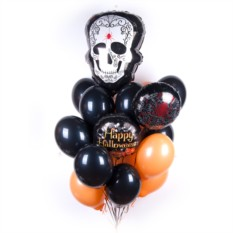 Облако шаров на Хэллоуин с Белым черепом