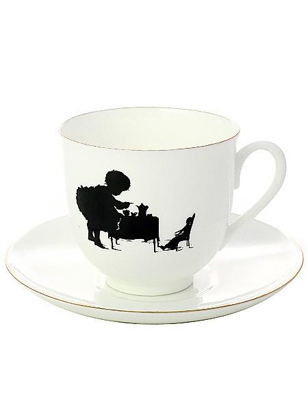 Фарфоровая кофейная чашка с блюдцем Чаепитие