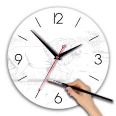 Круглые часы-раскраска Лев